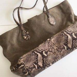 Talbots Suede Leather Snakeskin Tote Bag